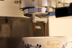 Espresso machine, coffee, cup
