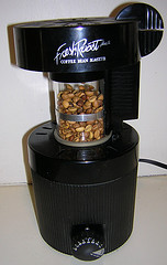 Black coffee roaster with coffee beans