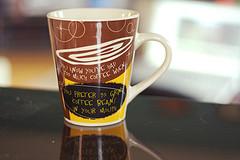 Brown and yellow ceramic mug